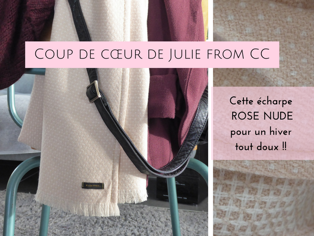 coup-de-cœur-juliefromcc-echarpe-facettes-rose-nude-laine-acrylique-gaufré-pois-juliefromcc